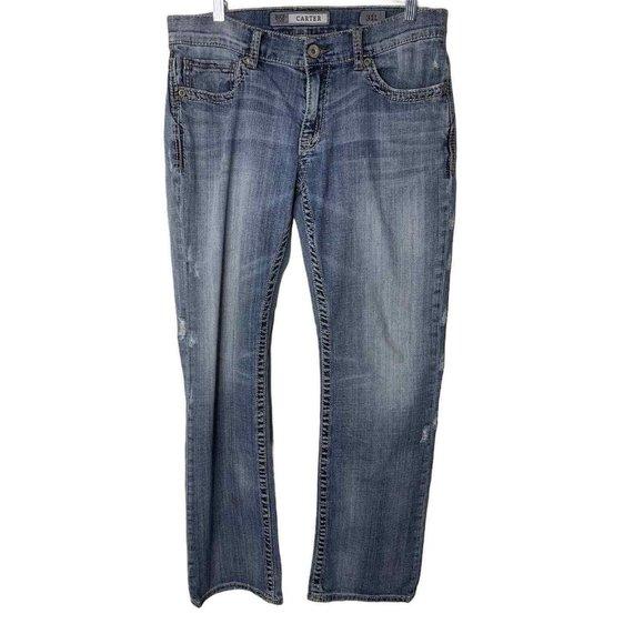 BKE Denim Distressed Long Bootleg Carter Jeans 31